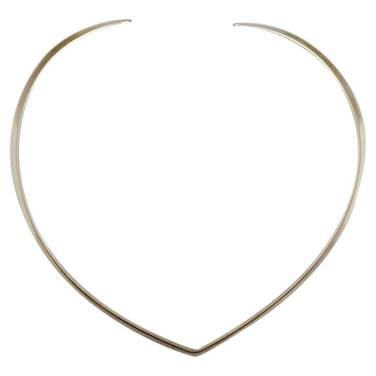 N.E. From Sterling Silver Neck Ring, Danish Design, 1970s For Sale