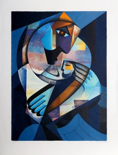 Mother and Child, Cubist Silkscreen by Neal Doty