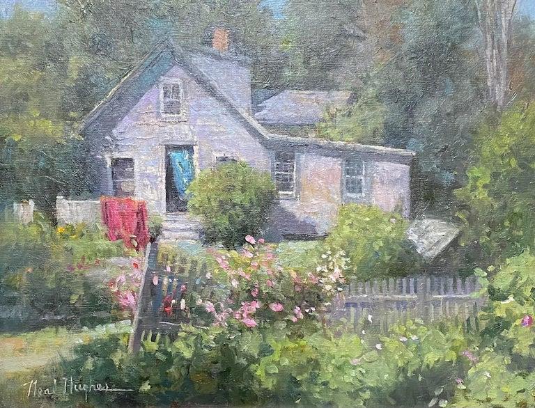 Monhegan Cottage, Maine, original marine landscape oil painting - Painting by Neal Hughes
