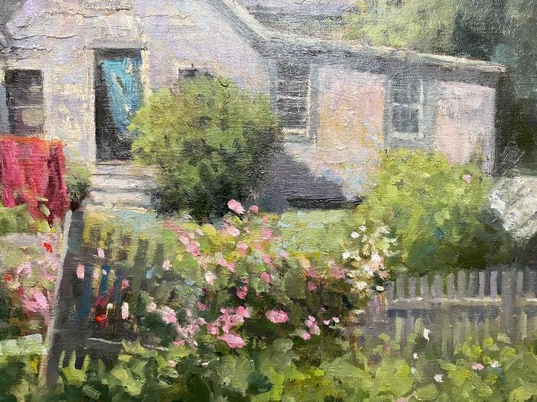 Monhegan Cottage, Maine, original marine landscape oil painting - Black Landscape Painting by Neal Hughes