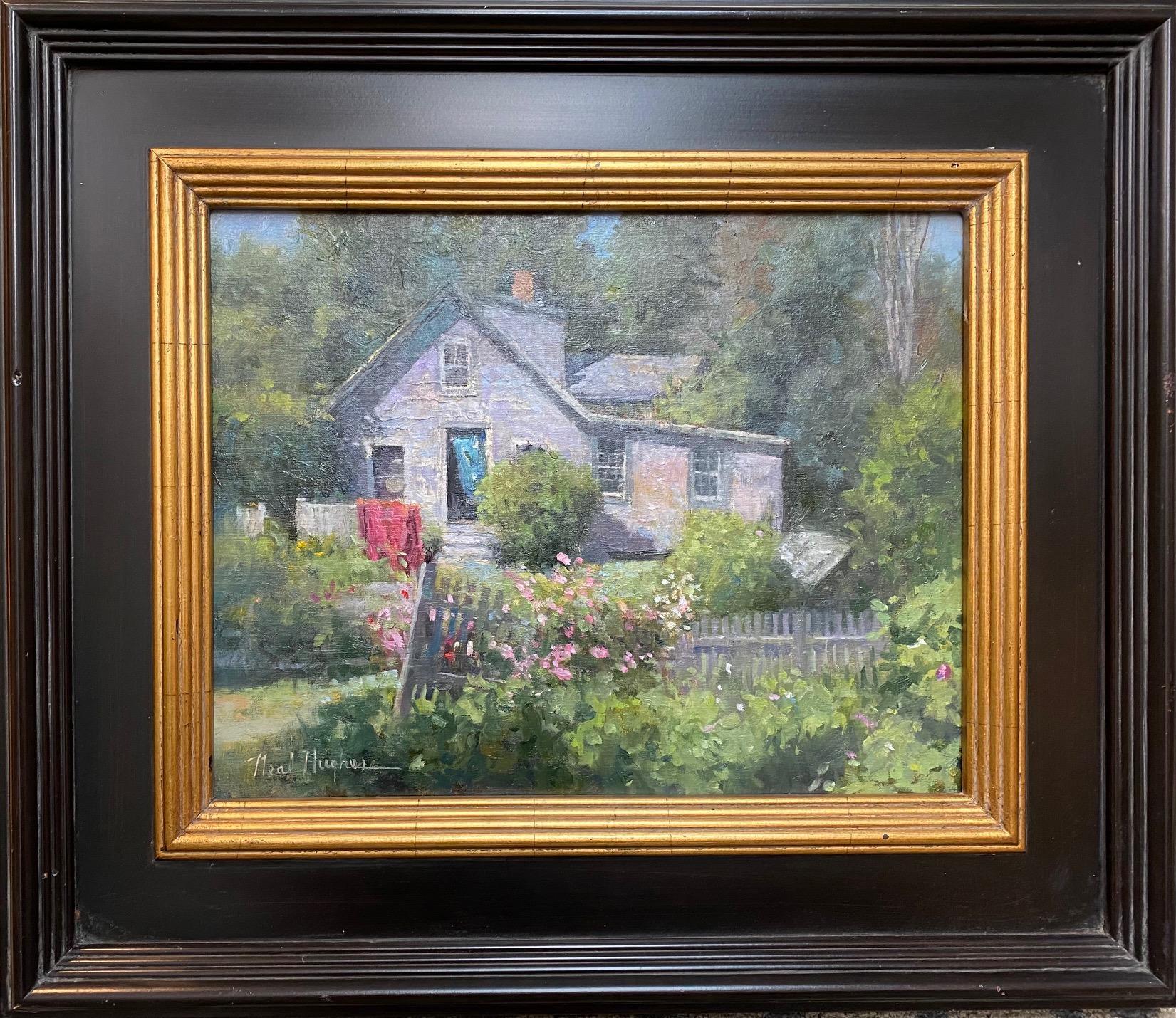 Monhegan Cottage, Maine, original marine landscape oil painting
