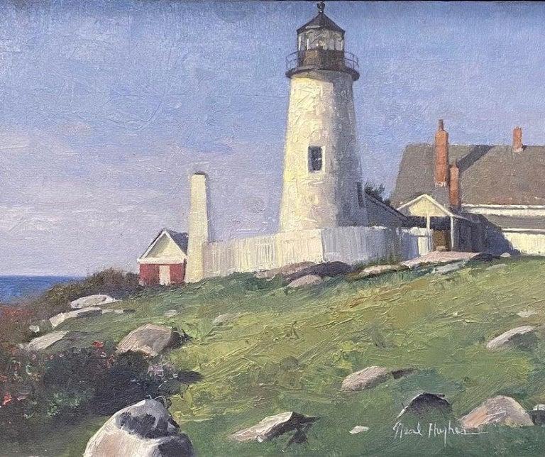 Pemaquid Light, original marine landscape - Painting by Neal Hughes