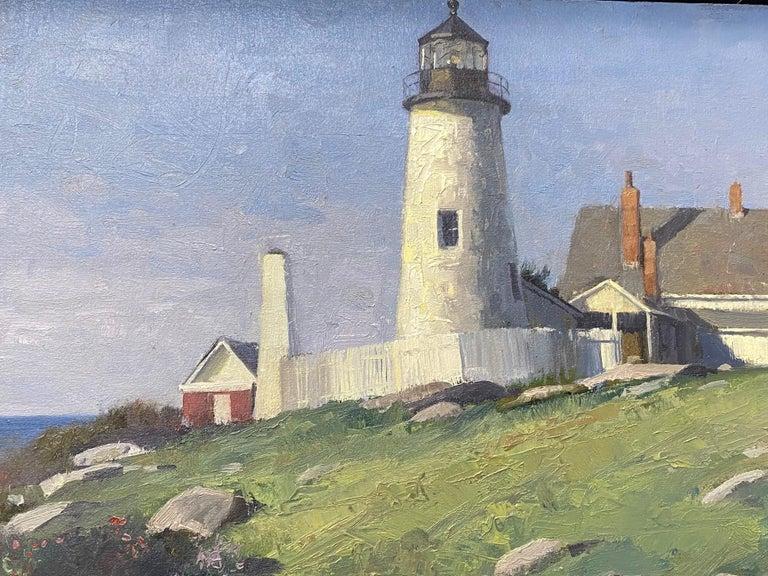 Pemaquid Light, original marine landscape - Impressionist Painting by Neal Hughes