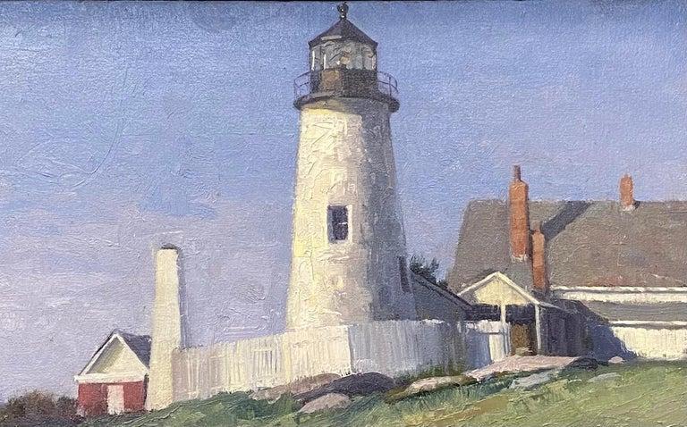 Pemaquid Light, original marine landscape - Black Landscape Painting by Neal Hughes