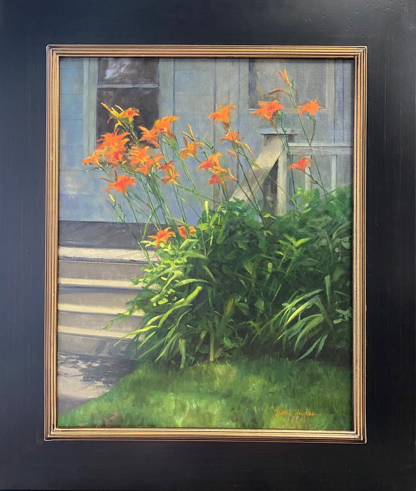 Tiger Lilies,  original realistic floral landscape