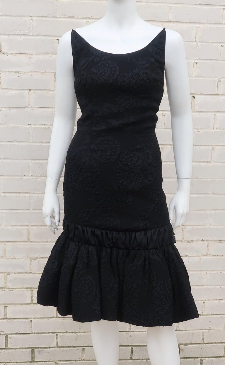 Women's Neal of California C.1960 Black Jacquard Cocktail Dress With Ruffled Hem For Sale