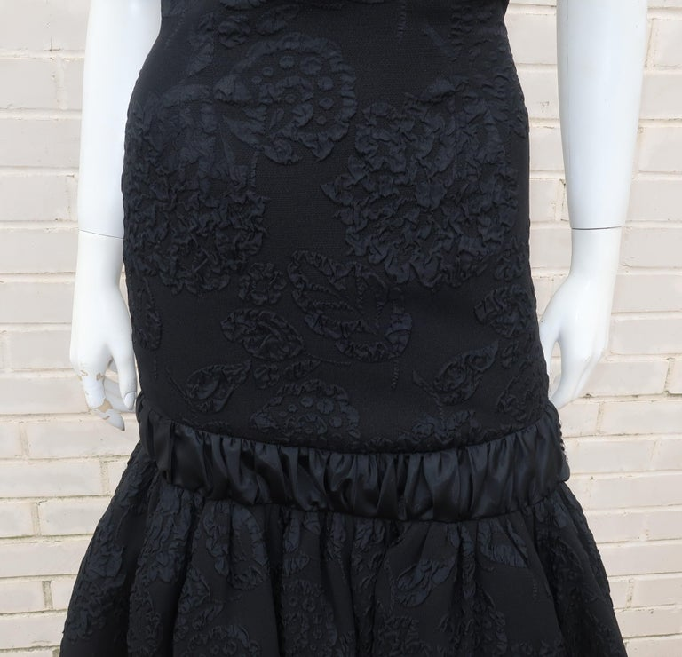 Neal of California C.1960 Black Jacquard Cocktail Dress With Ruffled Hem For Sale 2