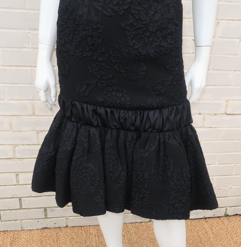 Neal of California C.1960 Black Jacquard Cocktail Dress With Ruffled Hem For Sale 3