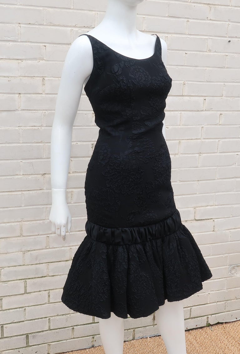 Neal of California C.1960 Black Jacquard Cocktail Dress With Ruffled Hem For Sale 4