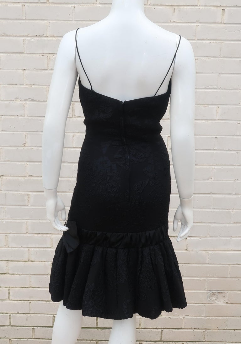 Neal of California C.1960 Black Jacquard Cocktail Dress With Ruffled Hem For Sale 5