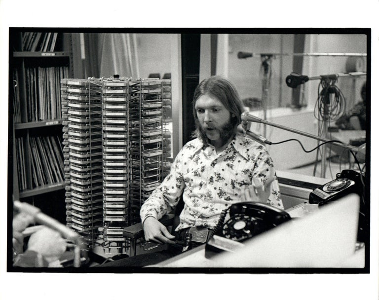 Neal Preston Black and White Photograph - Duane Allman in DJ Booth Vintage Original Photograph