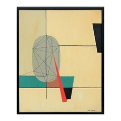 Cream, Teal & Red Abstract Geometric Landscape in the Style of Wassily Kandinsky