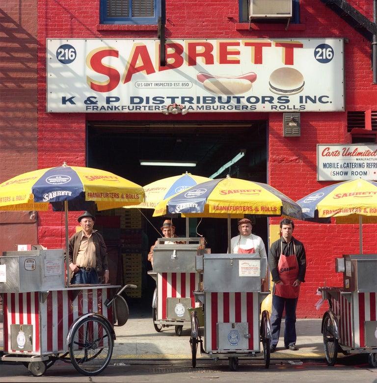 Neal Slavin Color Photograph - Sabrett Hot Dog Vendors, New York City