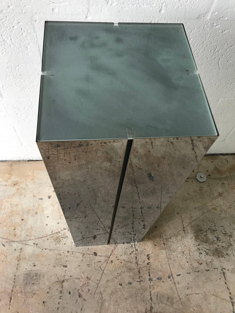 American Neal Small Illuminated Steel and Glass Pedestal Stand or Lamp For Sale