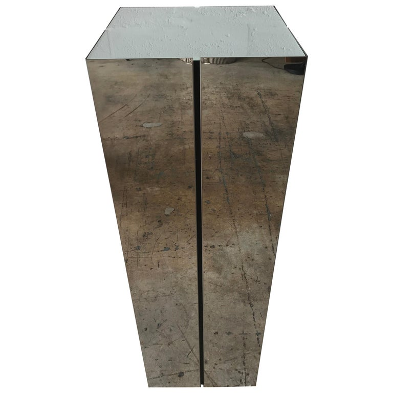 Neal Small Illuminated Steel and Glass Pedestal Stand or Lamp For Sale