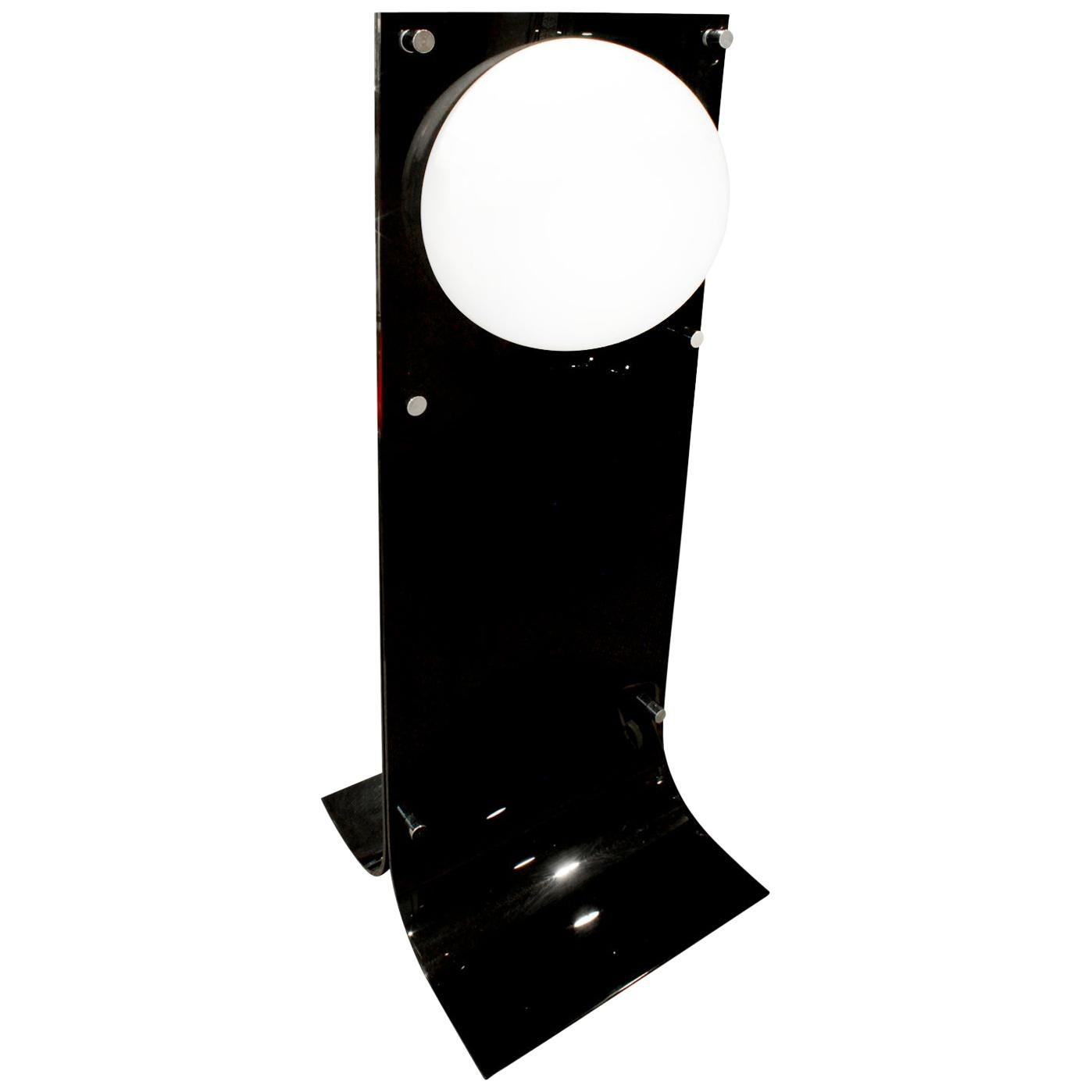 Neal Small Large Lamp in Black and White Lucite, 1960s