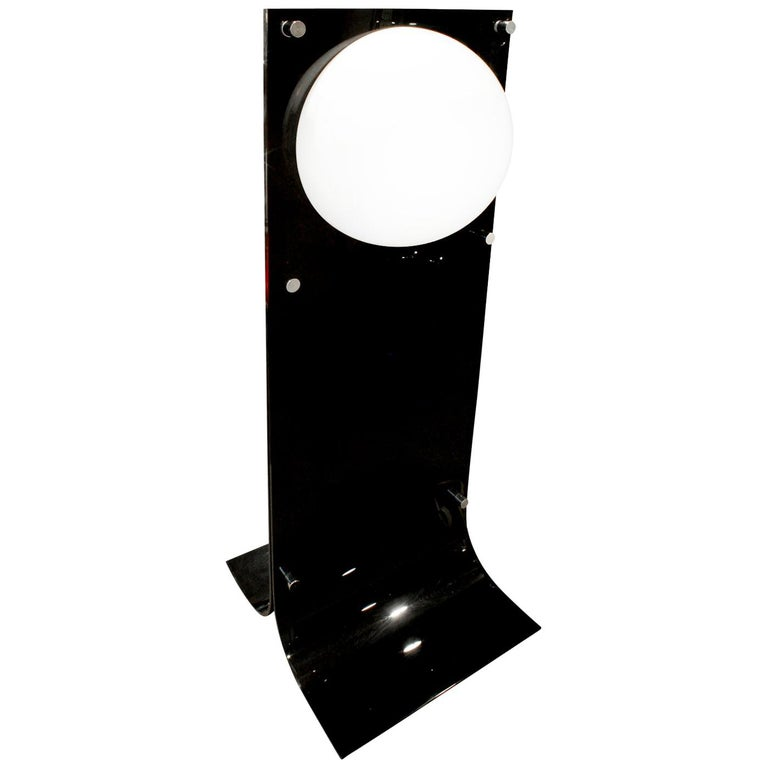 Neal Small Large Lamp in Black and White Lucite, 1960s For Sale