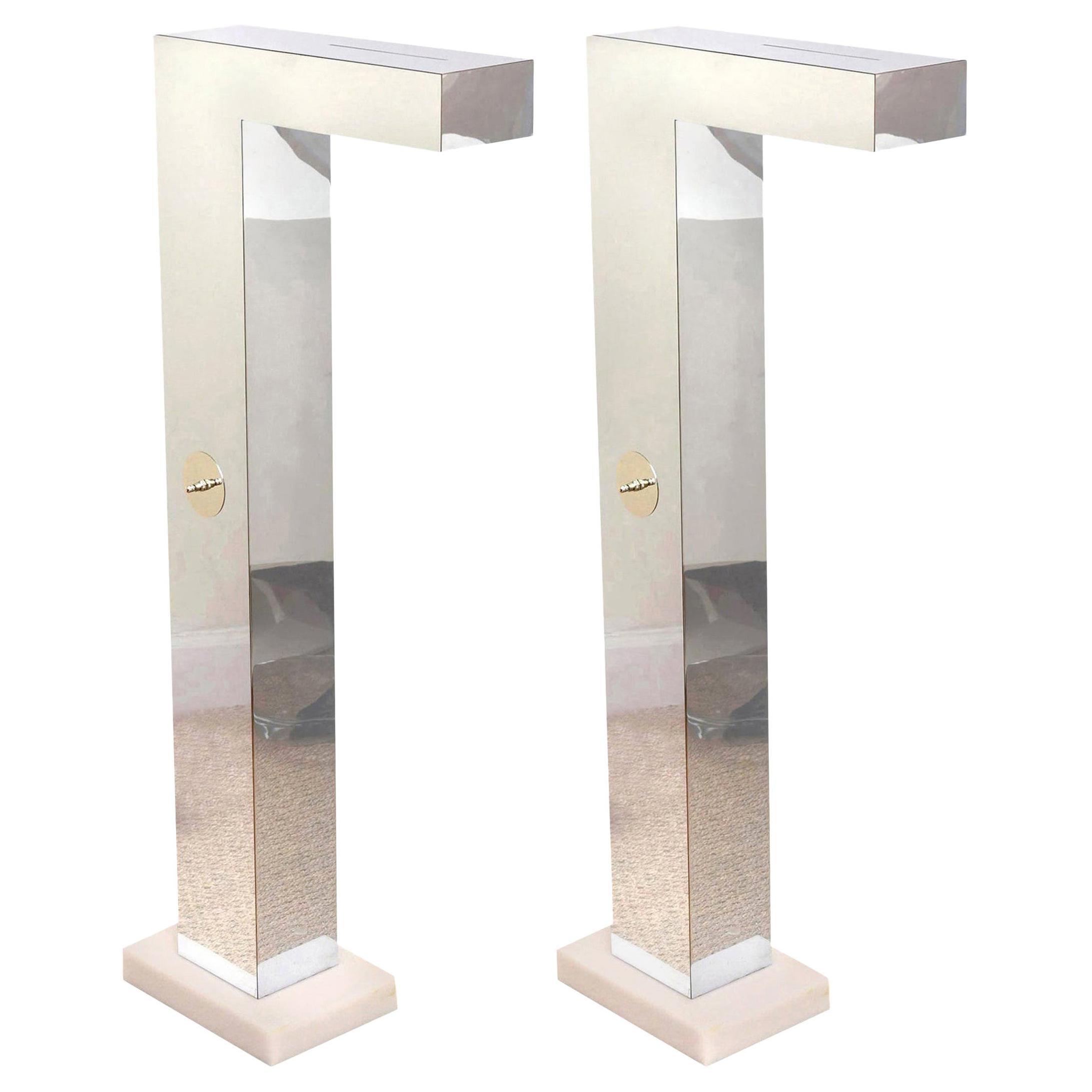 Neal Small Sculptural Floor Lamps Pair of Vintage