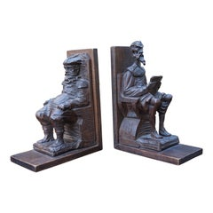 Near Antique Hand Carved Wooden Don Quixote and Sancho Panza Sculpture Bookends