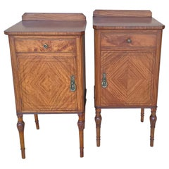 Near Matched Pair of Edwardian Satinwood Bedside Cabinets