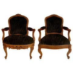 Near Pair of Antique French Carved Walnut Armchairs, circa 1890