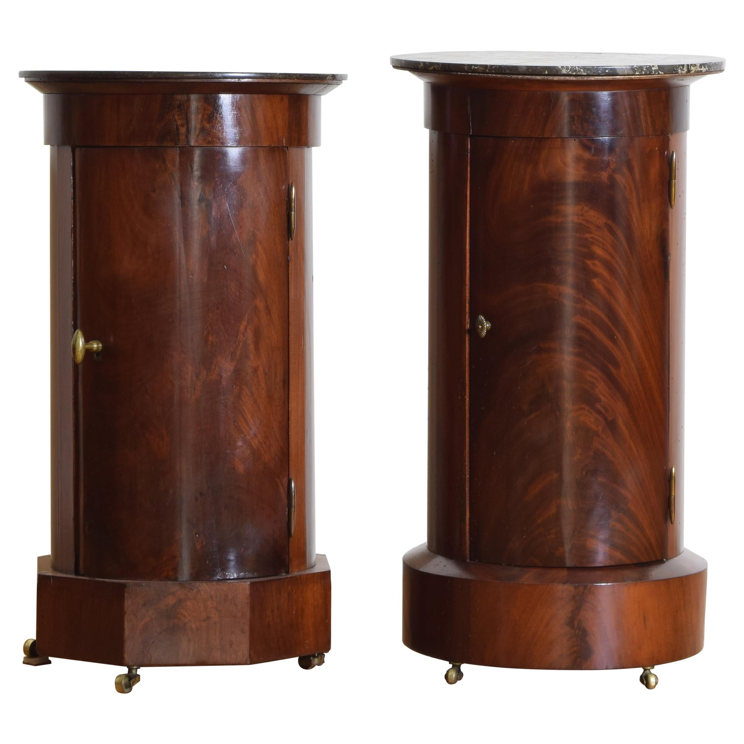 Near Pair French Neoclassic Mahogany & Marble Top Pedestal Cabinets, 2ndq 19thc