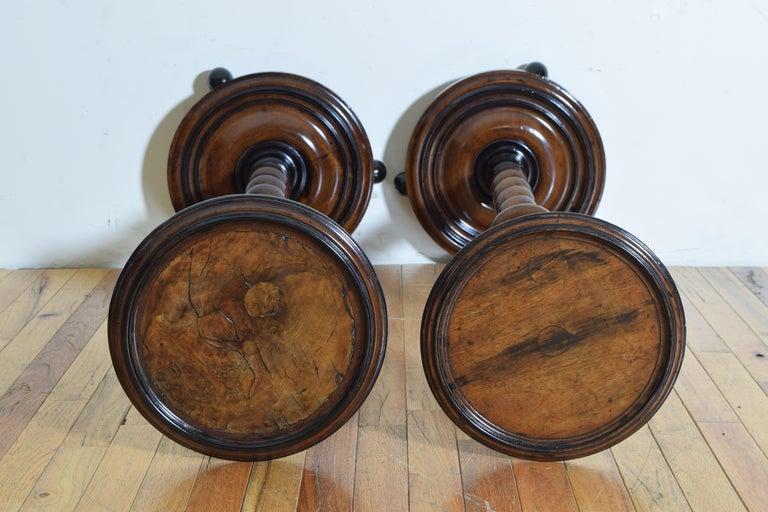 Near Pair of Italian, Lombardia, Turned Walnut Ebonized Torcheres/Pedestals For Sale 5
