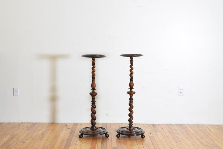 Louis XIII Near Pair of Italian, Lombardia, Turned Walnut Ebonized Torcheres/Pedestals For Sale