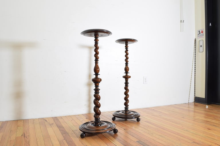 Near Pair of Italian, Lombardia, Turned Walnut Ebonized Torcheres/Pedestals In Good Condition For Sale In Atlanta, GA