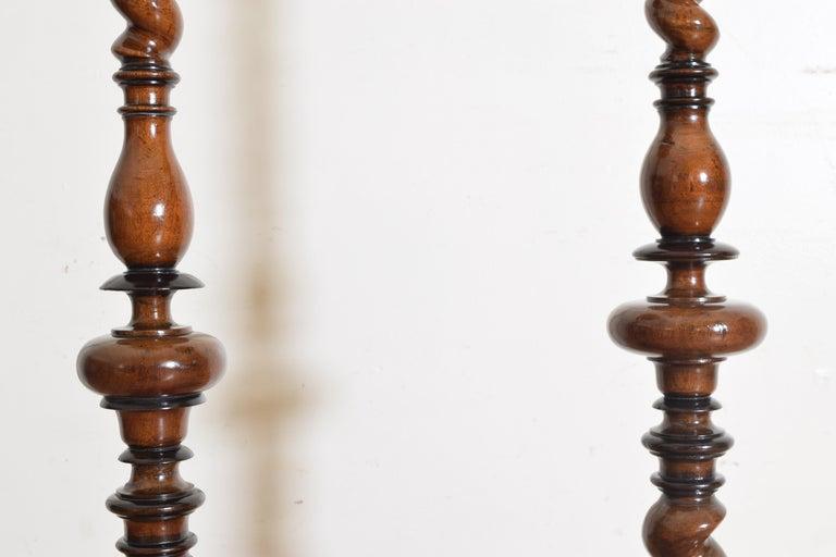 Near Pair of Italian, Lombardia, Turned Walnut Ebonized Torcheres/Pedestals For Sale 2