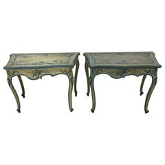 Near Pair of 18th-19th Century Painted Italian Console Tables, François Coty