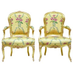 Near Pair of 18th Century Louis XV Gilt Armchairs by Michard