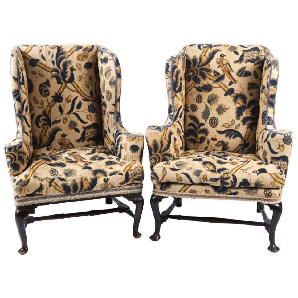 Near Pair of 18th Century Queen Anne Wing Chairs