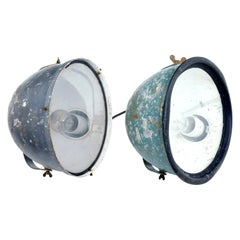 Near Pair of 1920s Industrial Lights
