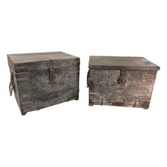 Near Pair of 19th Century British Colonial Teak Munitions Trunks as Side Tables