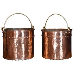Near Pair of 19th Century Copper Buckets