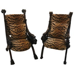 Near Pair of 19th Century Heavily Carved Italian Renaissance Style Throne Chairs