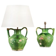 Near Pair of 20th Century French Green Glaze Pitchers as Table Lamps