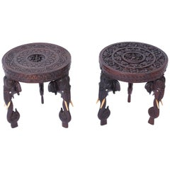 Near Pair of Antique Anglo Indian Petite Stands with Elephants