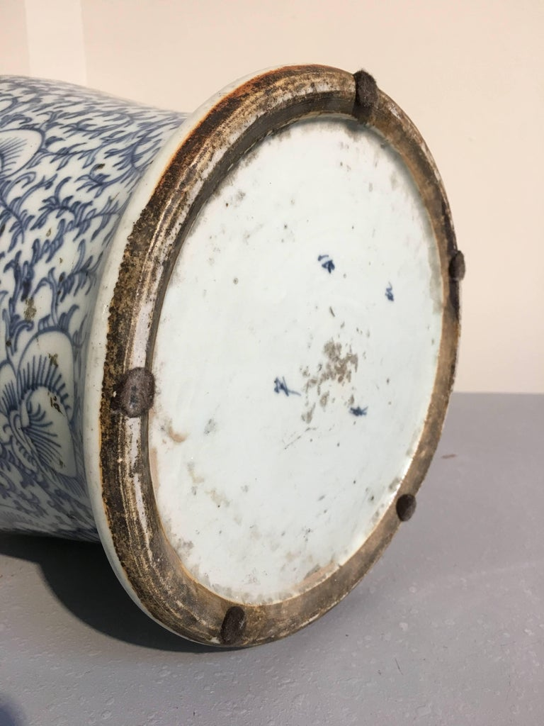 20th Century Near Pair of Antique Chinese Blue and White Double Happiness Covered Jars For Sale