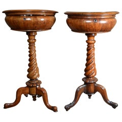 Near Pair of Antique Walnut Victorian Teapoys