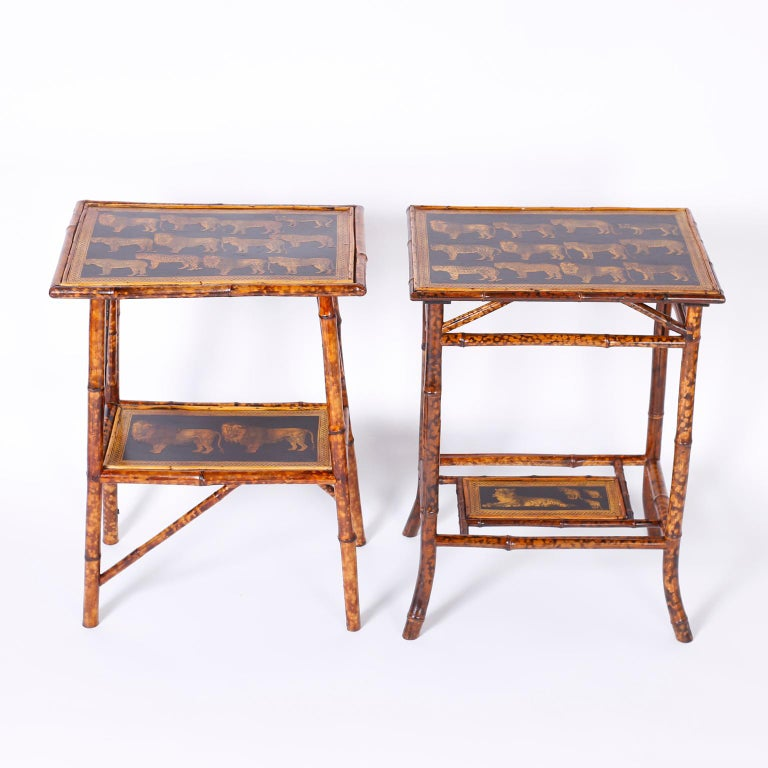 Near Pair of Bamboo End Tables with Big Cat Motif In Good Condition For Sale In Palm Beach, FL