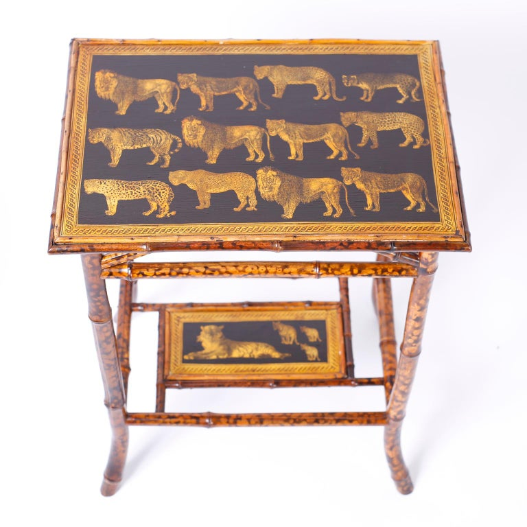 Near Pair of Bamboo End Tables with Big Cat Motif For Sale 4