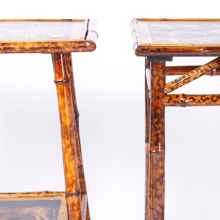 Near Pair of Bamboo End Tables with Big Cat Motif For Sale 5