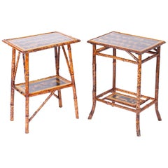 Near Pair of Bamboo End Tables with Big Cat Motif