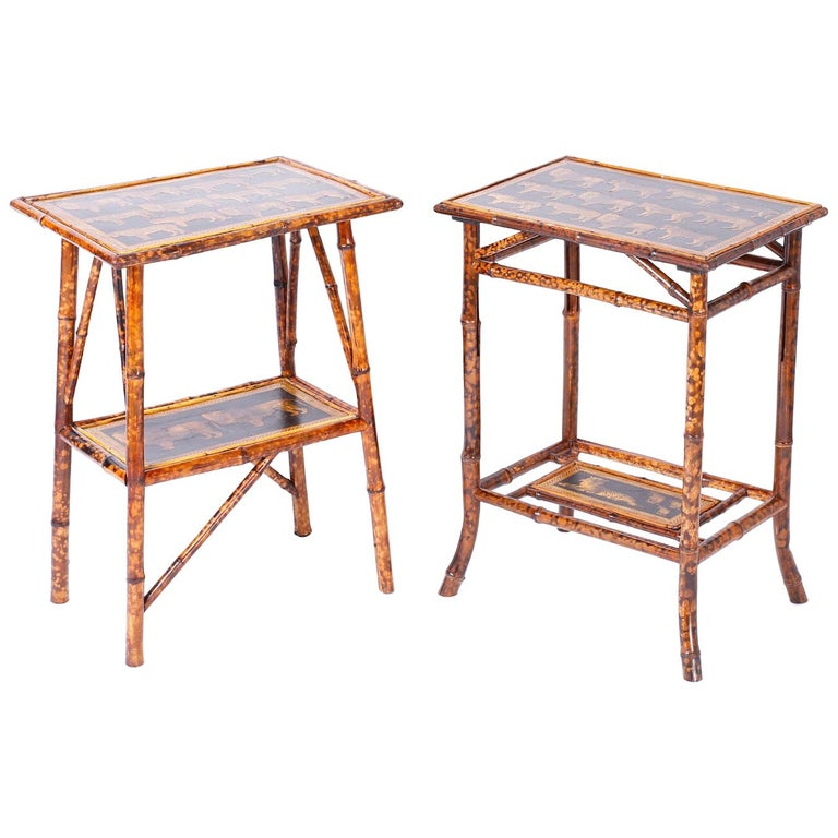 Near Pair of Bamboo End Tables with Big Cat Motif For Sale
