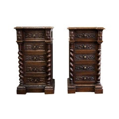 Near Pair of Carved Barley Twist Marble-Top Chests