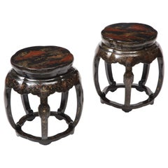 Near Pair of Chinese Black Lacquer and Gilt Garden Seats