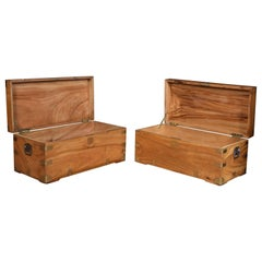 Near Pair of Chinese Export Brass-Bound Camphorwood Chests