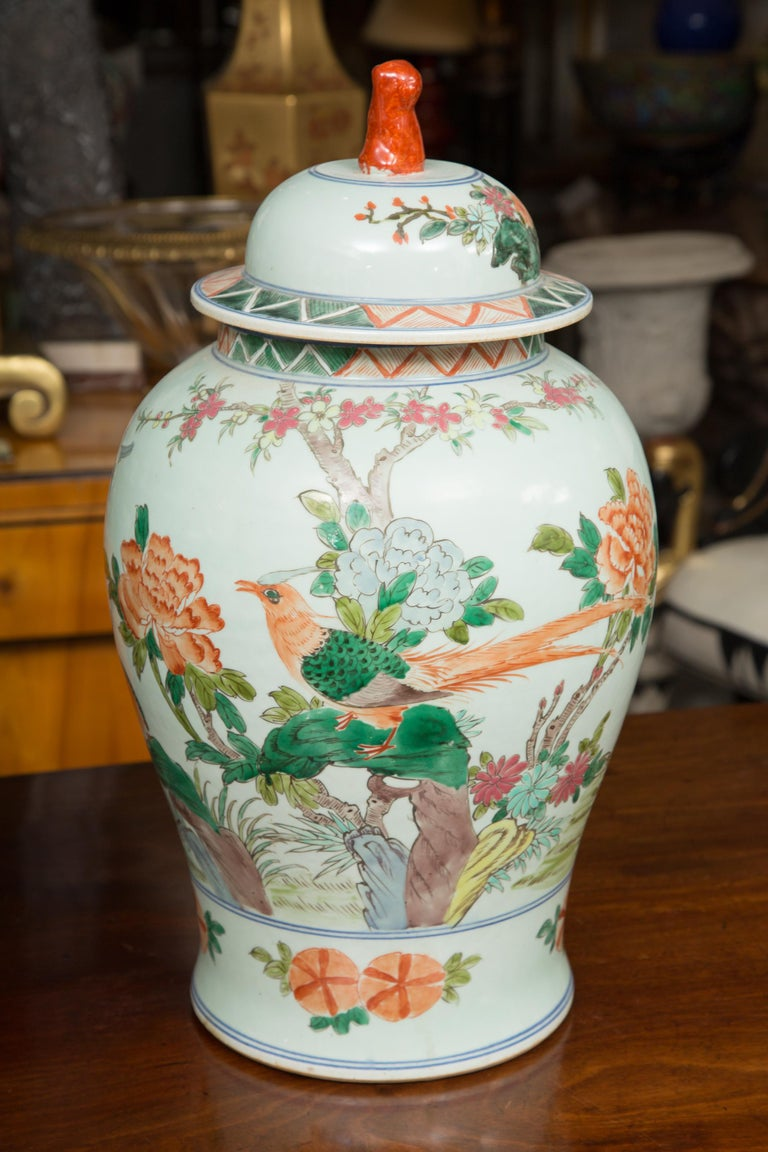 Chinese Export Near Pair of Chinese Lidded Urns For Sale